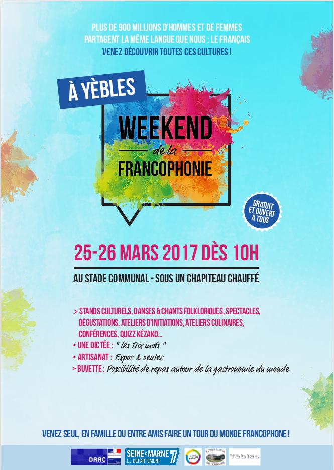 Affiche du Weekend de la Francophonie à Yèbles-2017